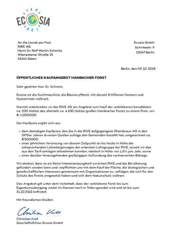 Öffentliches Kaufangebot an RWE (Oktober 2018)