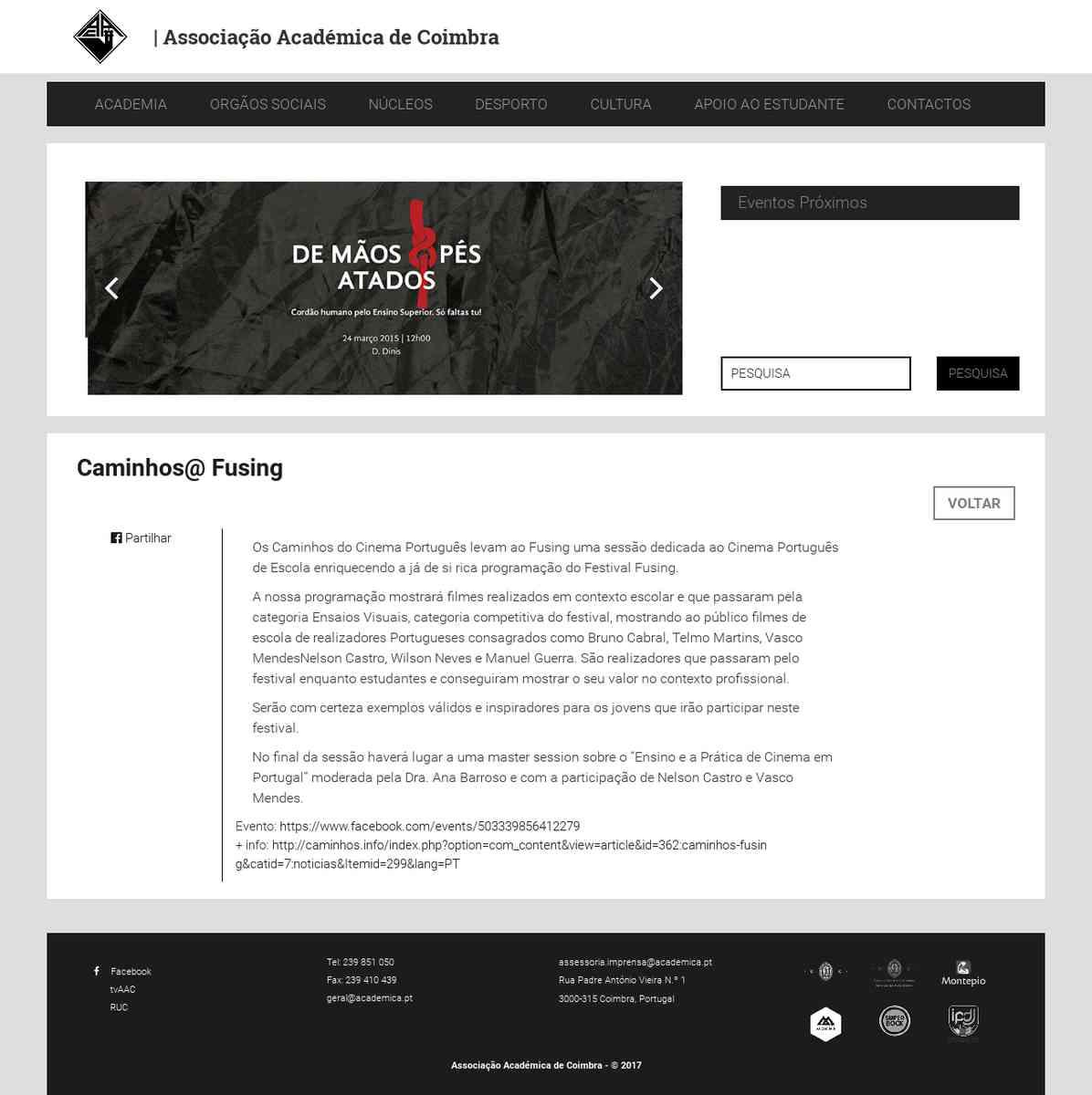 Caminhos@ Fusing | Associação Académica de Coimbra