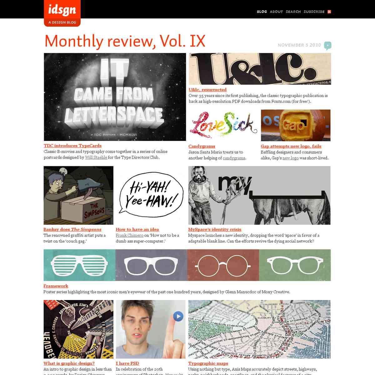 Monthly review, Vol. IX: idsgn (a design blog)