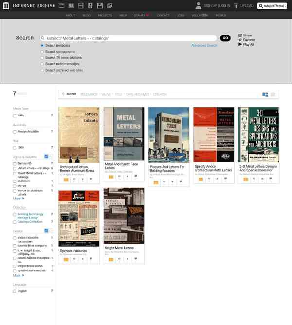 """Internet Archive Search: subject:""""Metal Letters - - catalogs"""""""