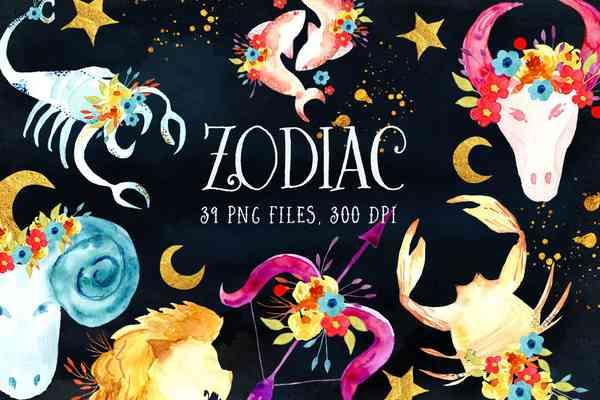$ Watercolor Zodiac