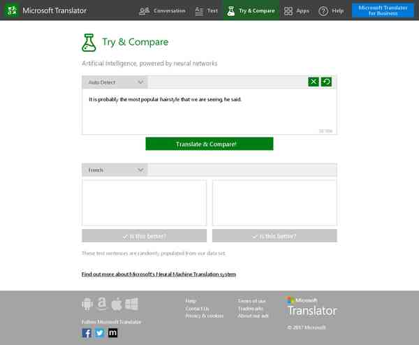 Try and Compare - Microsoft Translator