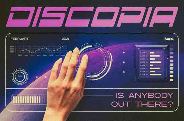 Discopia. Futuristic Tech Fonts