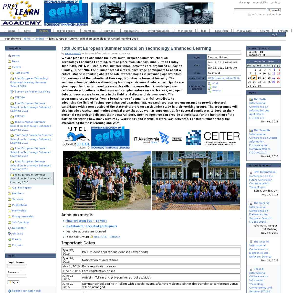 12th Joint European Summer School on Technology Enhanced Learning — PROLEARN Academy Portal