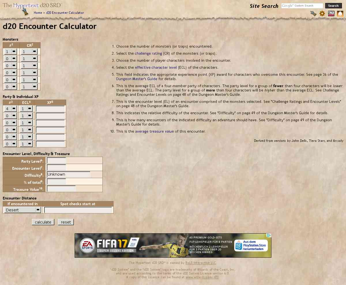 aid - d20 Encounter Calculator