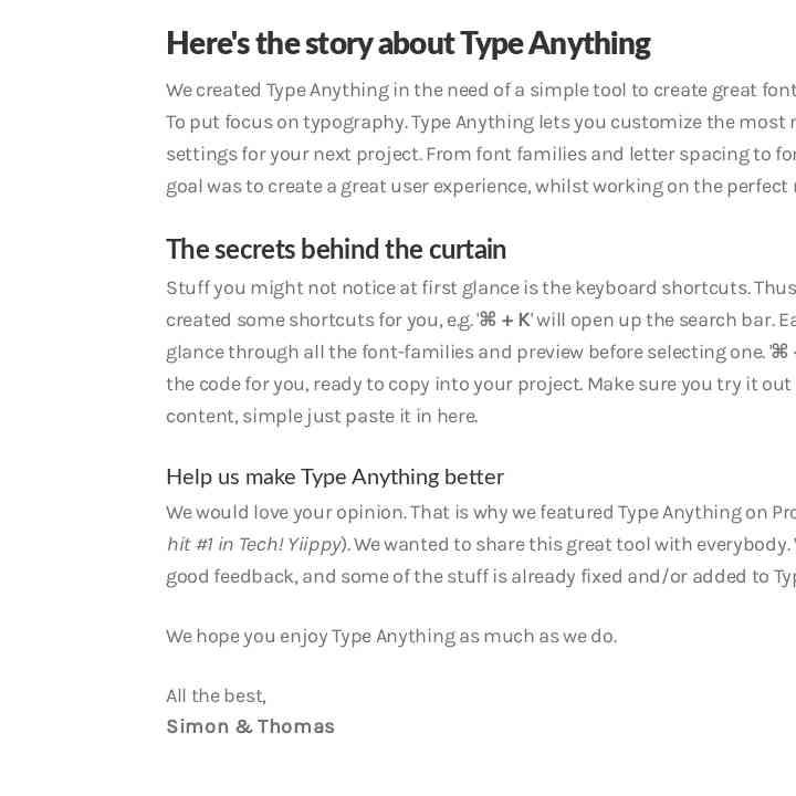 Type Anything