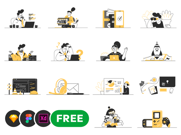 Whoooa! 20 customizable vector illustrations