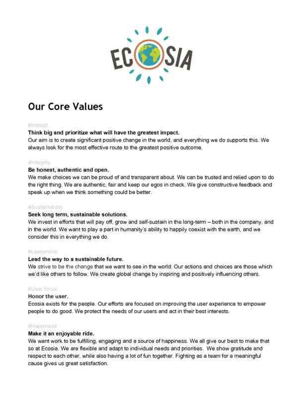 EcosiasCoreValues