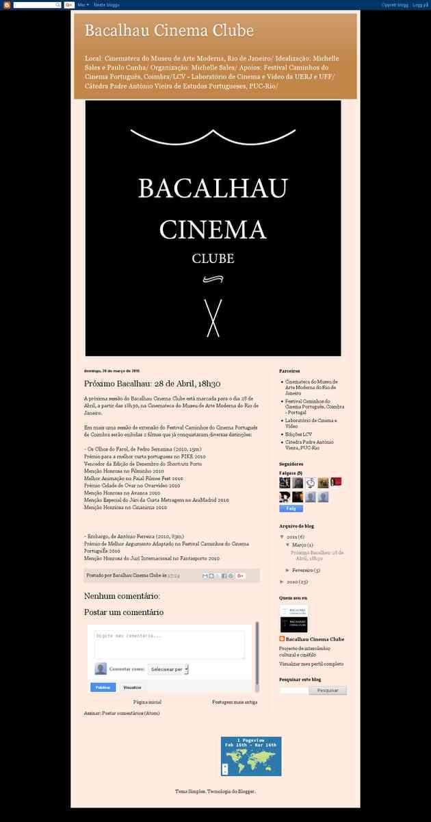Próximo Bacalhau: 28 de Abril, 18h30 | Bacalhau Cinema Clube