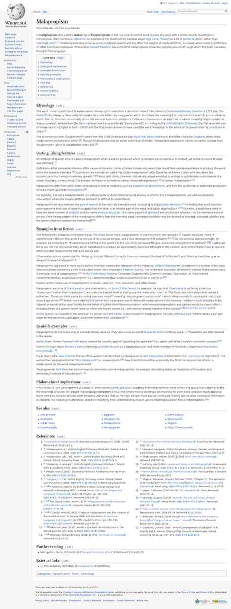 Malapropism - Wikipedia, the free encyclopedia