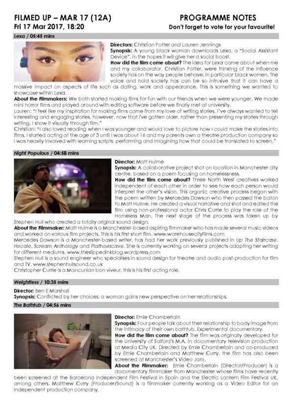 Mar 17 FILMED UP Programme Notes