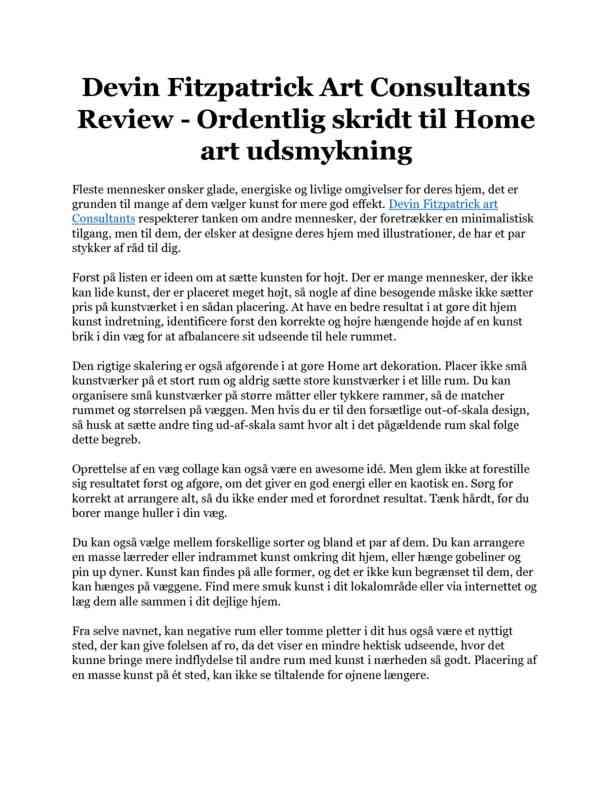 Devin Fitzpatrick Art Consultants Review - Ordentlig skridt til Home art udsmykning
