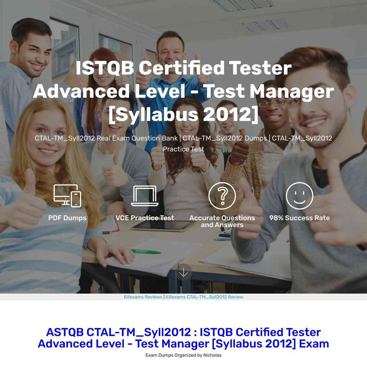 Take ASTQB CTAL-TM_Syll2012 PDF Download and practice with Test Prep