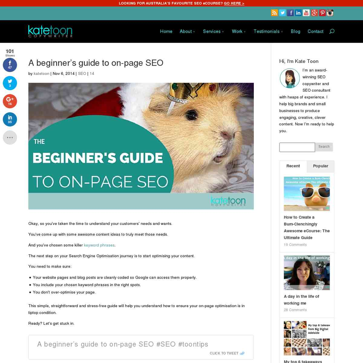 A beginners guide to on page SEO