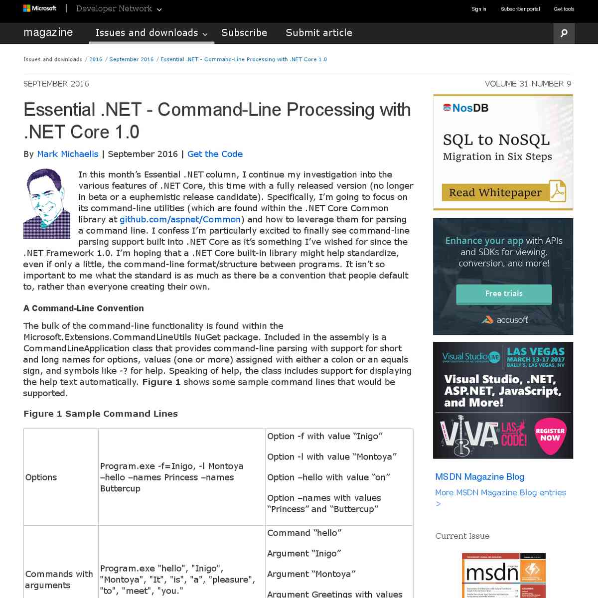 Essential .NET - Command-Line Processing with .NET Core 1.0