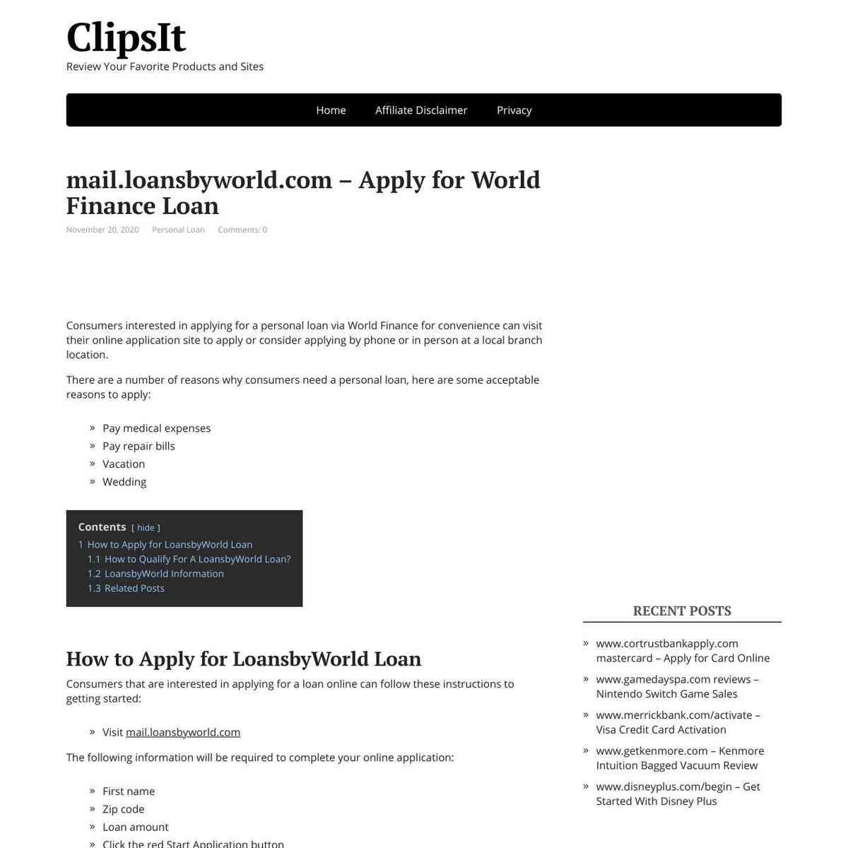 Mail Loansbyworld Apply