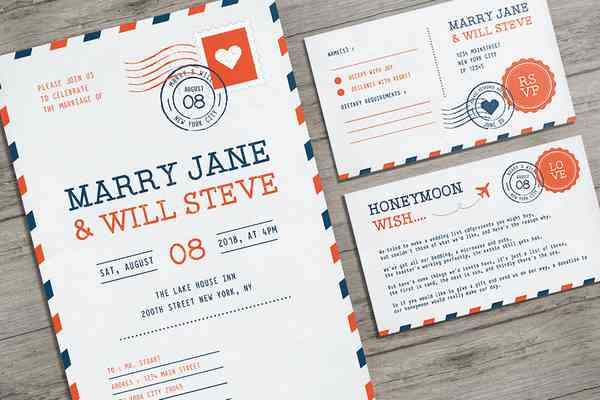 $ Airmail Wedding Invitation