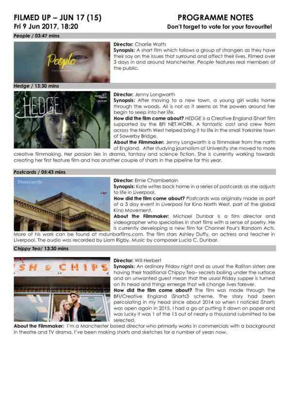 Jun 17 FILMED UP Programme Notes