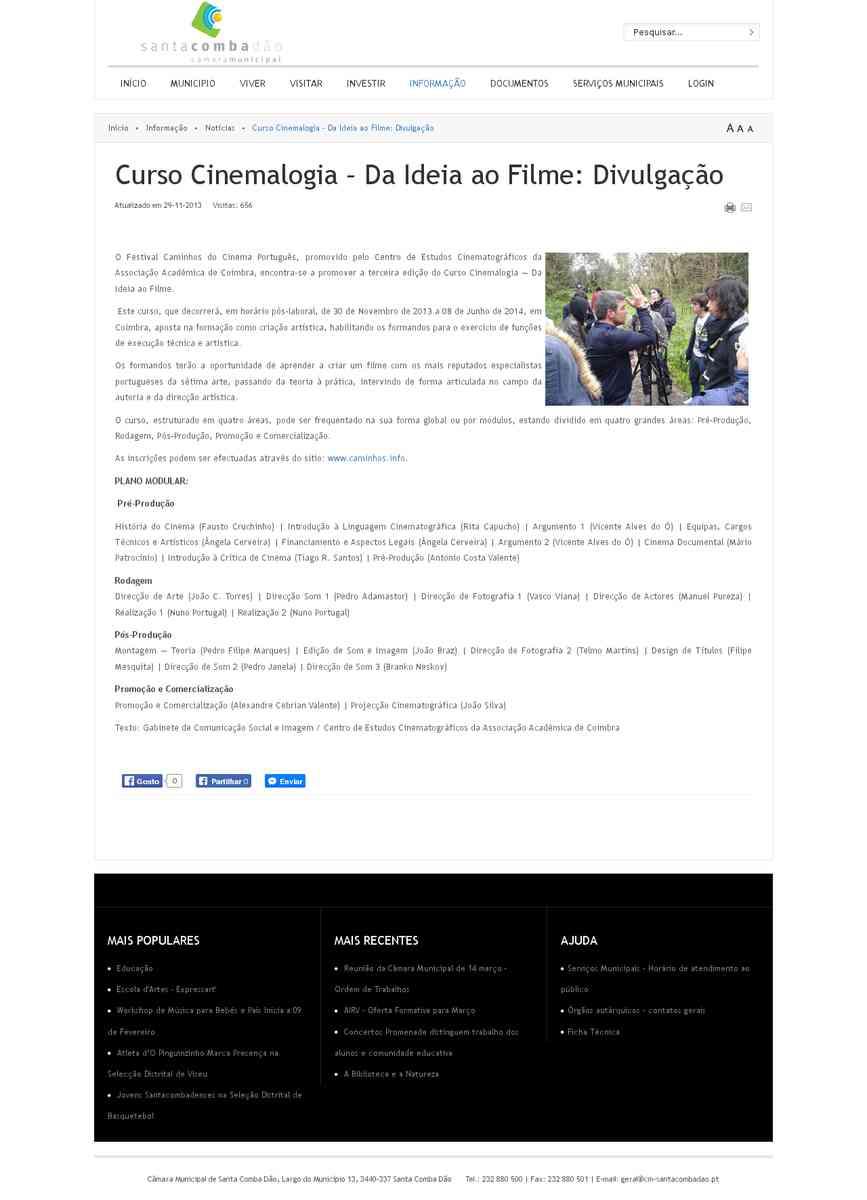 Curso Cinemalogia – Da Ideia ao Filme: Divulgação | Câmara Municipal Santa Comba Dão