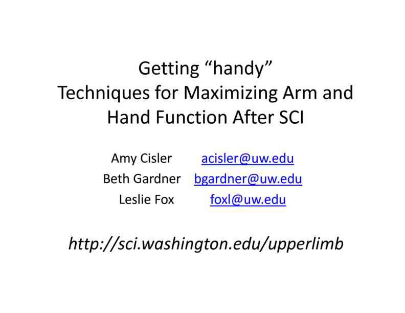 Arm and hand function slides with tons of examples of adaptations