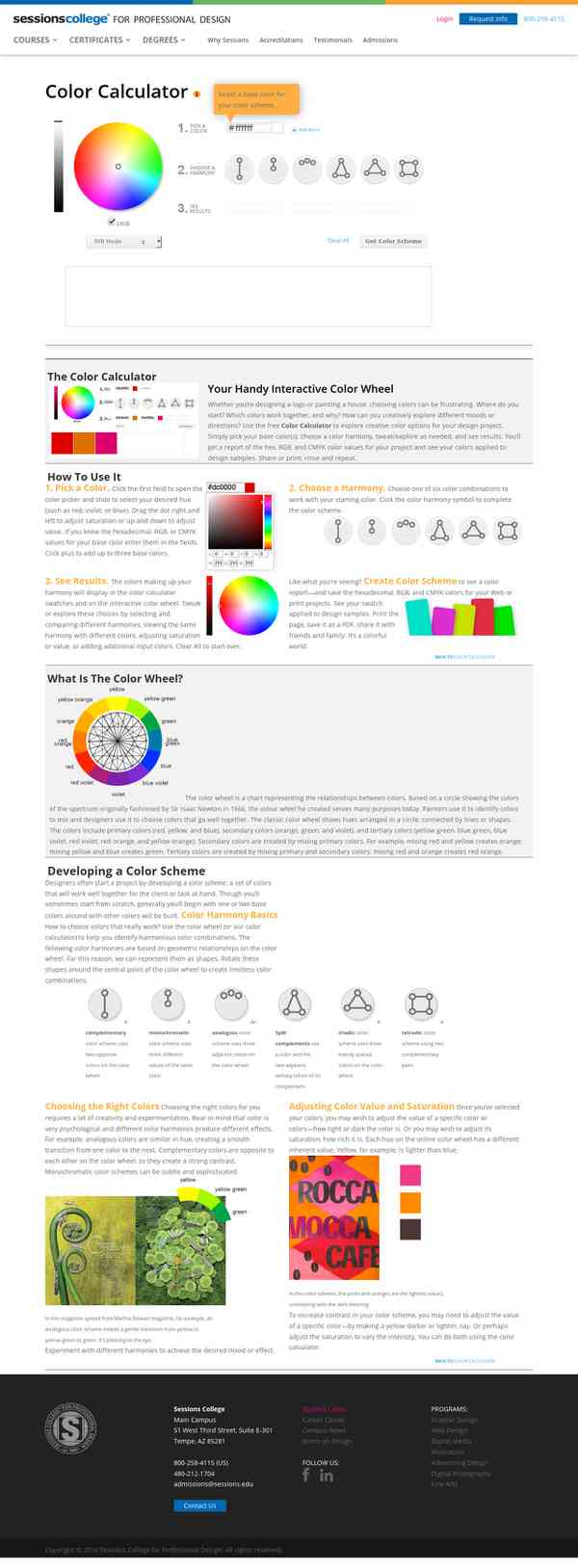 color wheel color calculator sessions college colour online