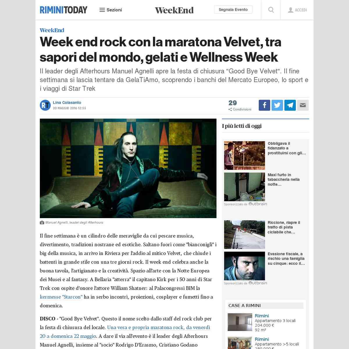Week end rock con la maratona Velvet, tra sapori del mondo, gelati e Wellness Week - Rimini Today -…