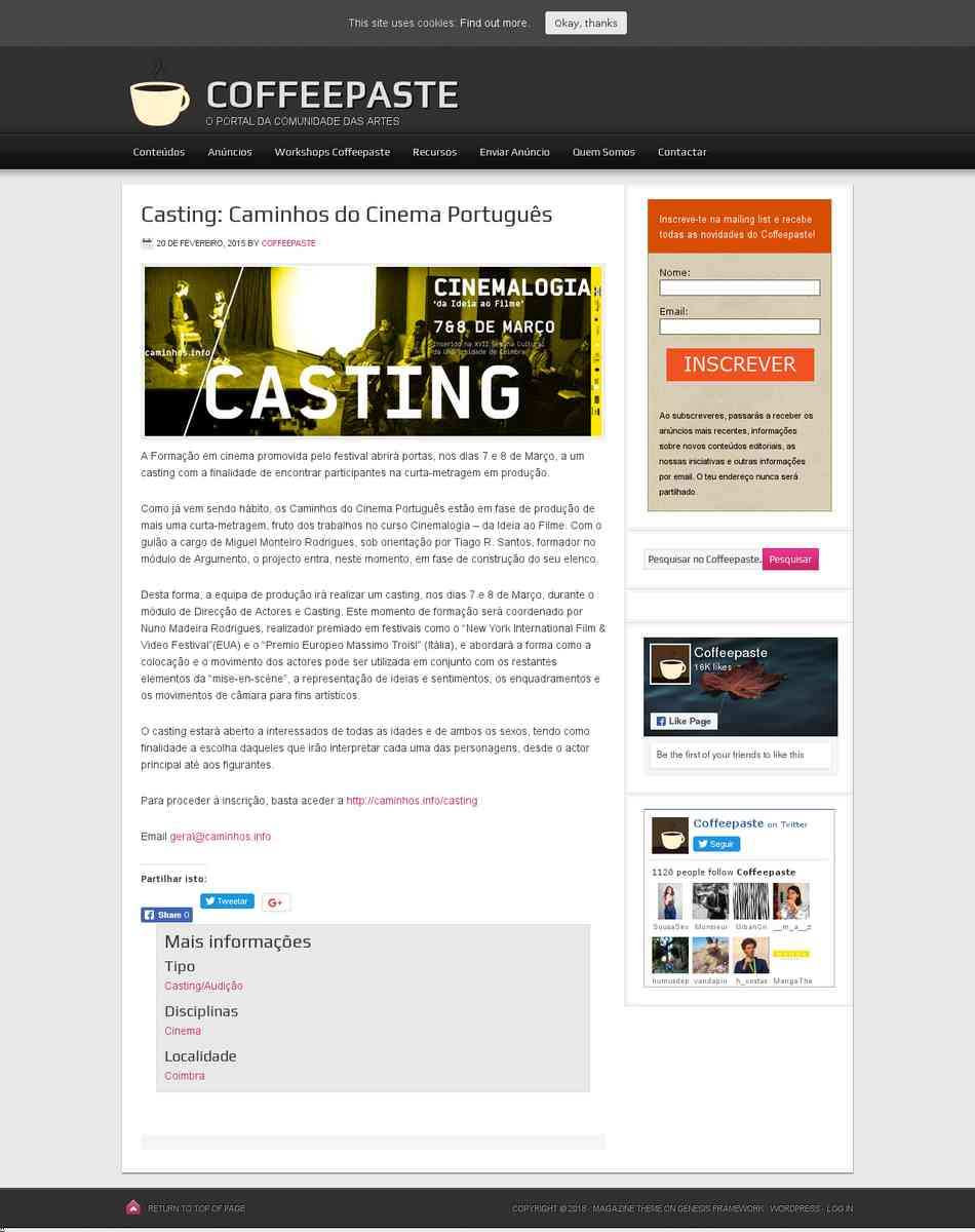 Casting: Caminhos do Cinema Português | Coffeepaste
