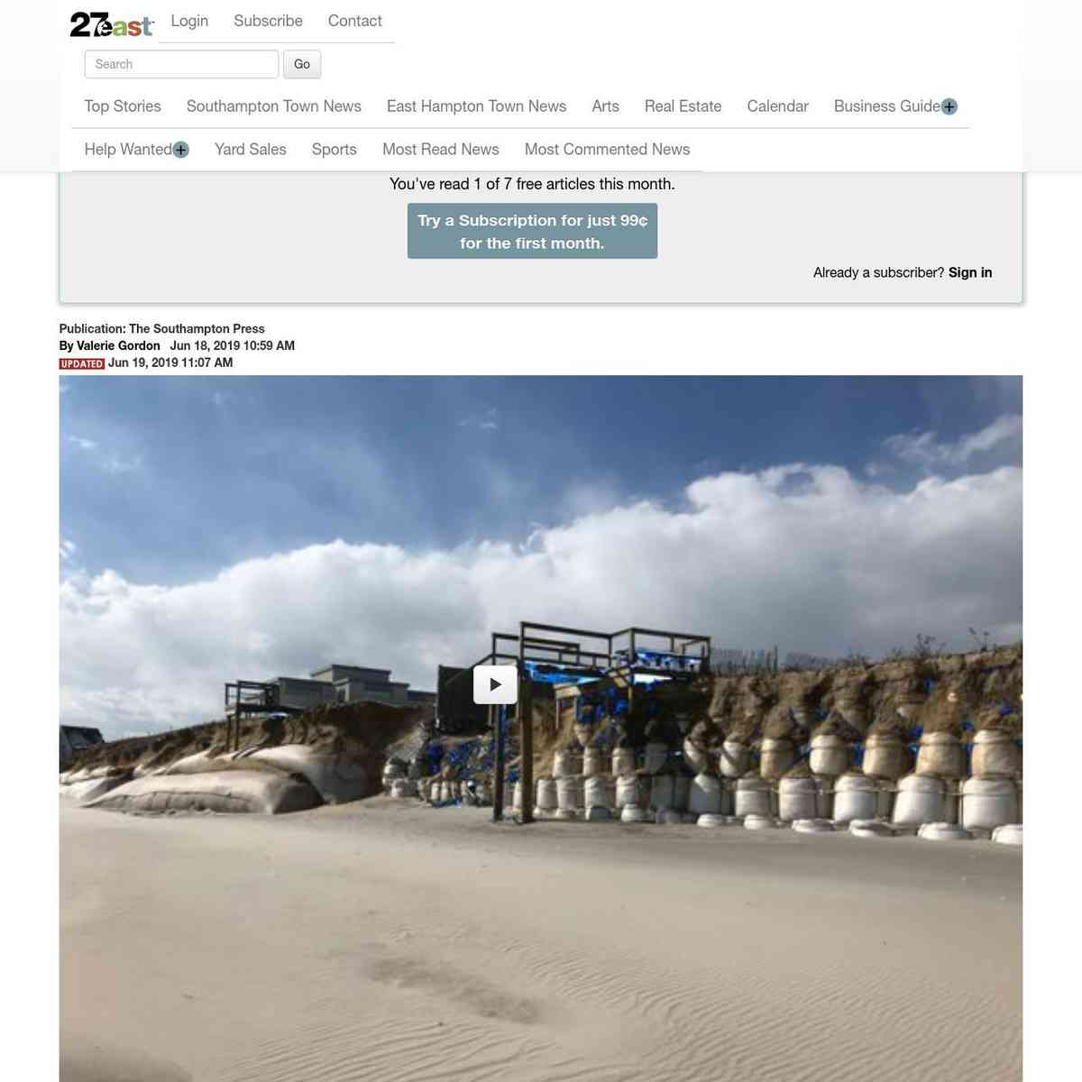 Quogue Homeowners Call for Removal of Geotextiles Along Village beach