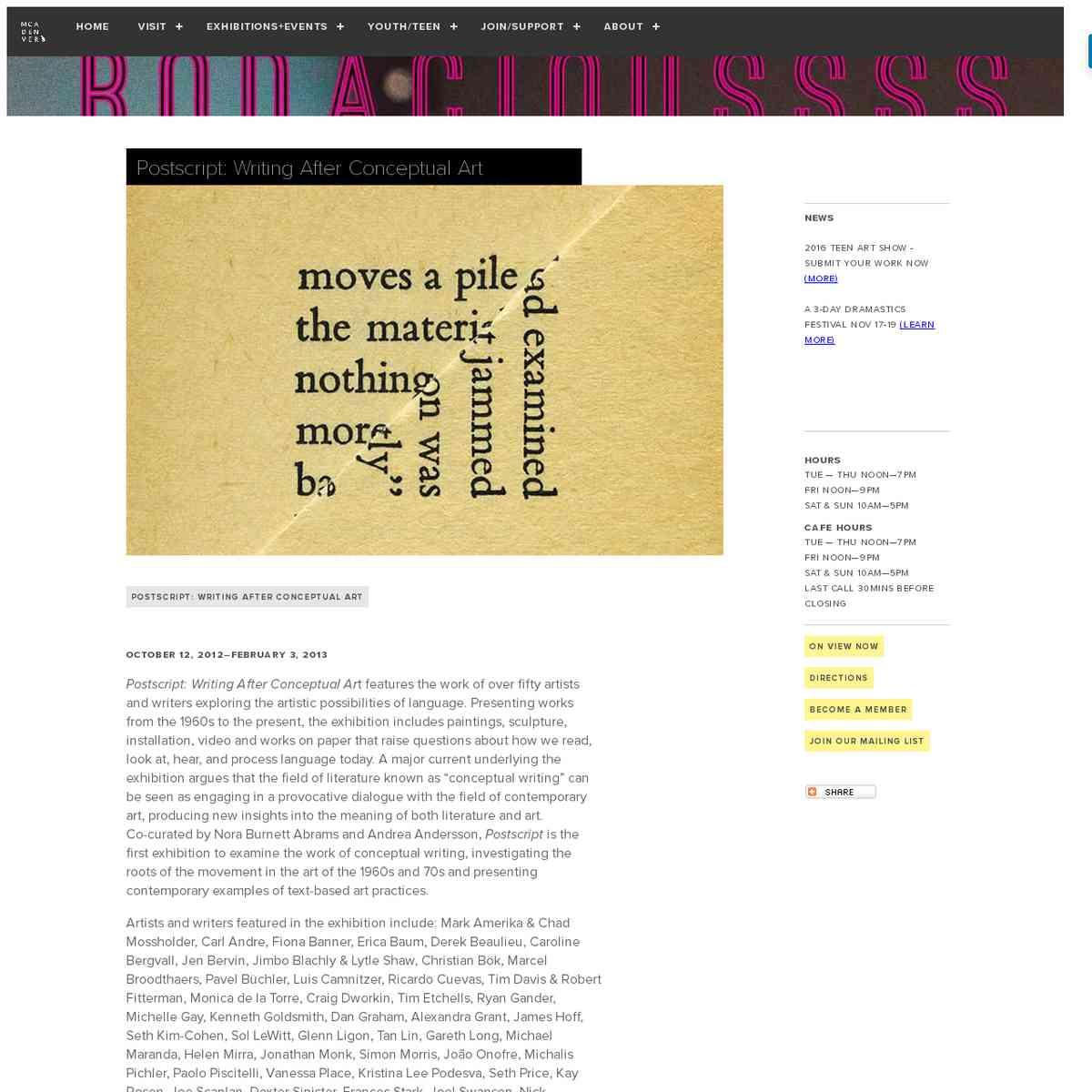 Postscript: Writing After Conceptual Art