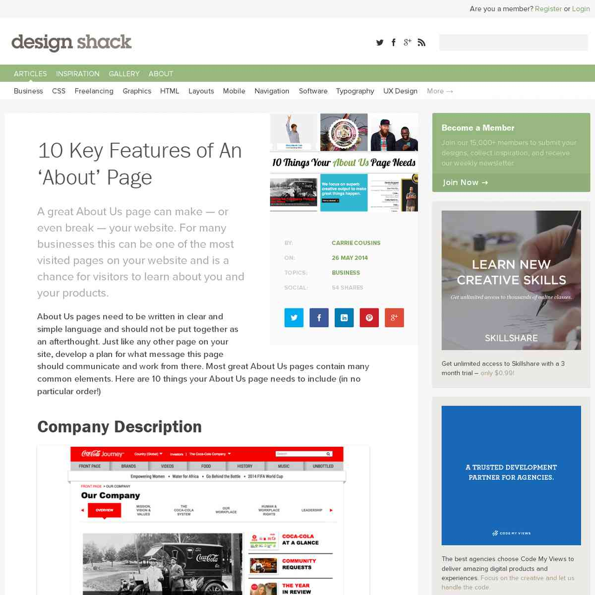 10 Key Features of An 'About' Page | Design Shack
