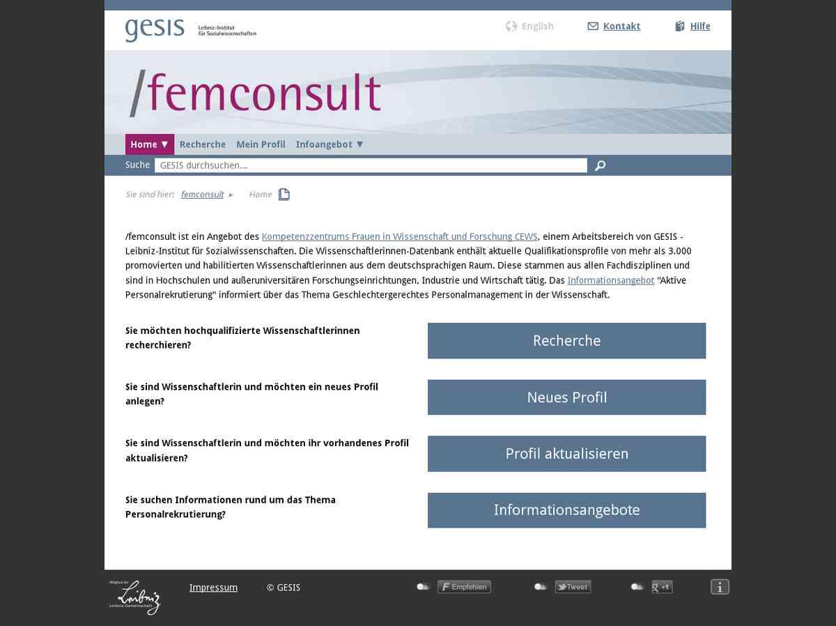 FemConsult. Die Wissenschaftlerinnen-Datenbank