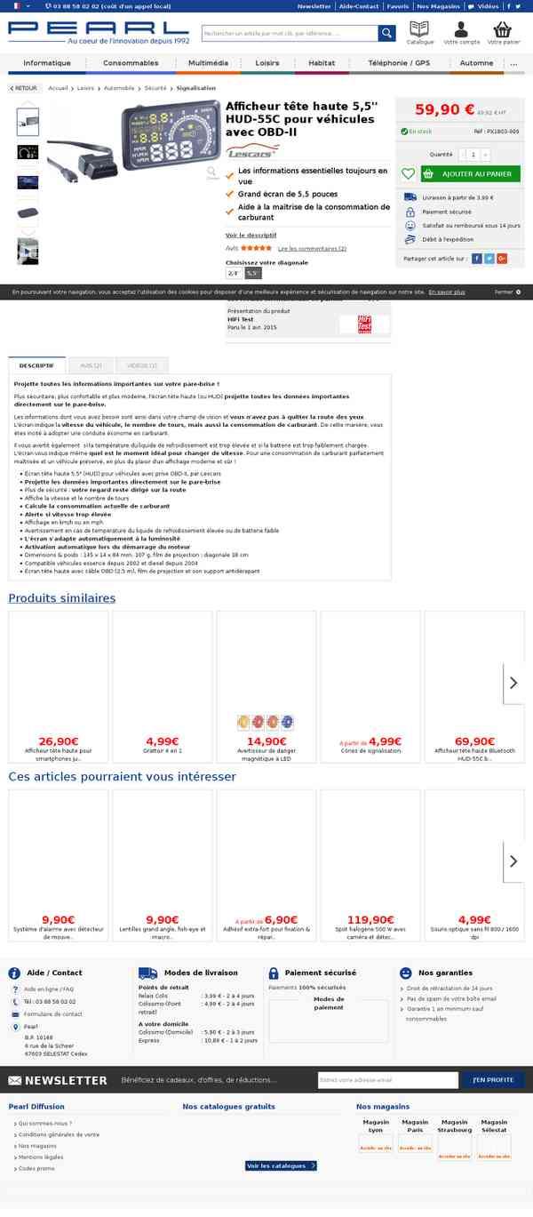 HUD à affichage tête haute avec prise OBD-II pas cher Lescars | Pearl.fr
