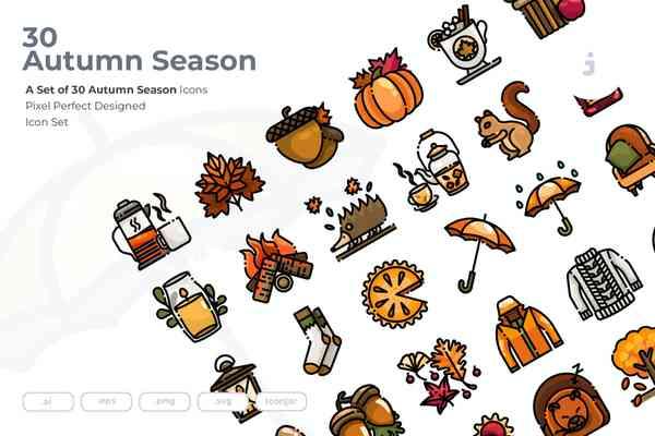 $ 30 Autumn Season Icons