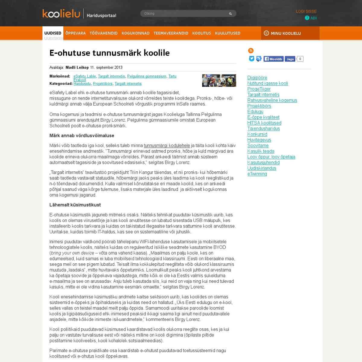 E-ohutuse tunnusmärk koolile : Koolielu