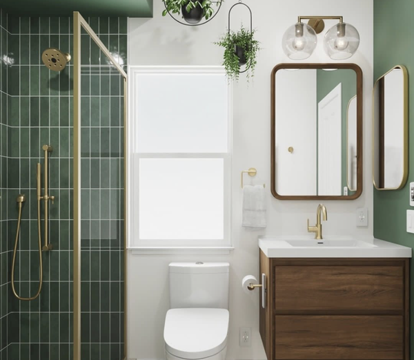 green tile, wood cabinets
