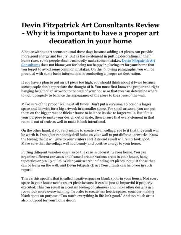 Devin Fitzpatrick Art Consultants Review - Why it is important to have a proper art decoration in y…