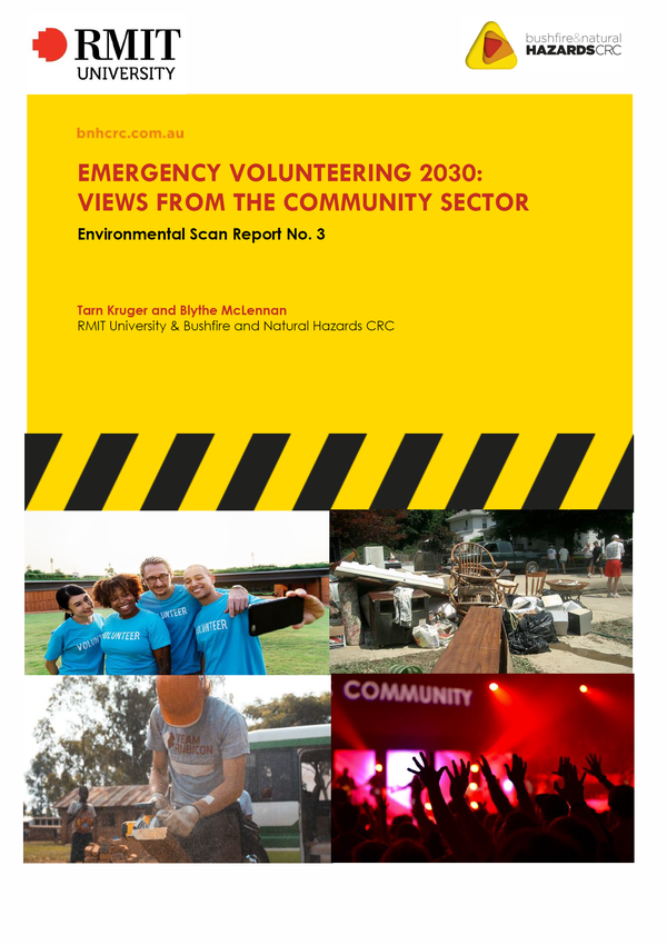 RESEARCH REPORT: Emergency volunteering 2030 - views from the community sector