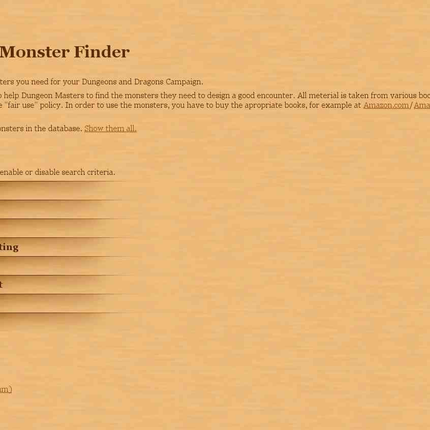 reference - d20 monster finder