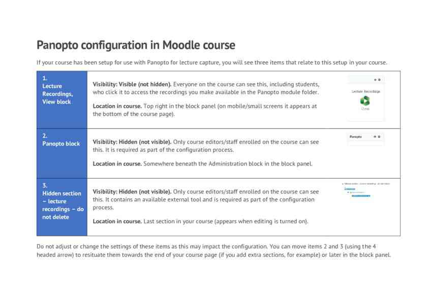 Panopto setup in Moodle course for module