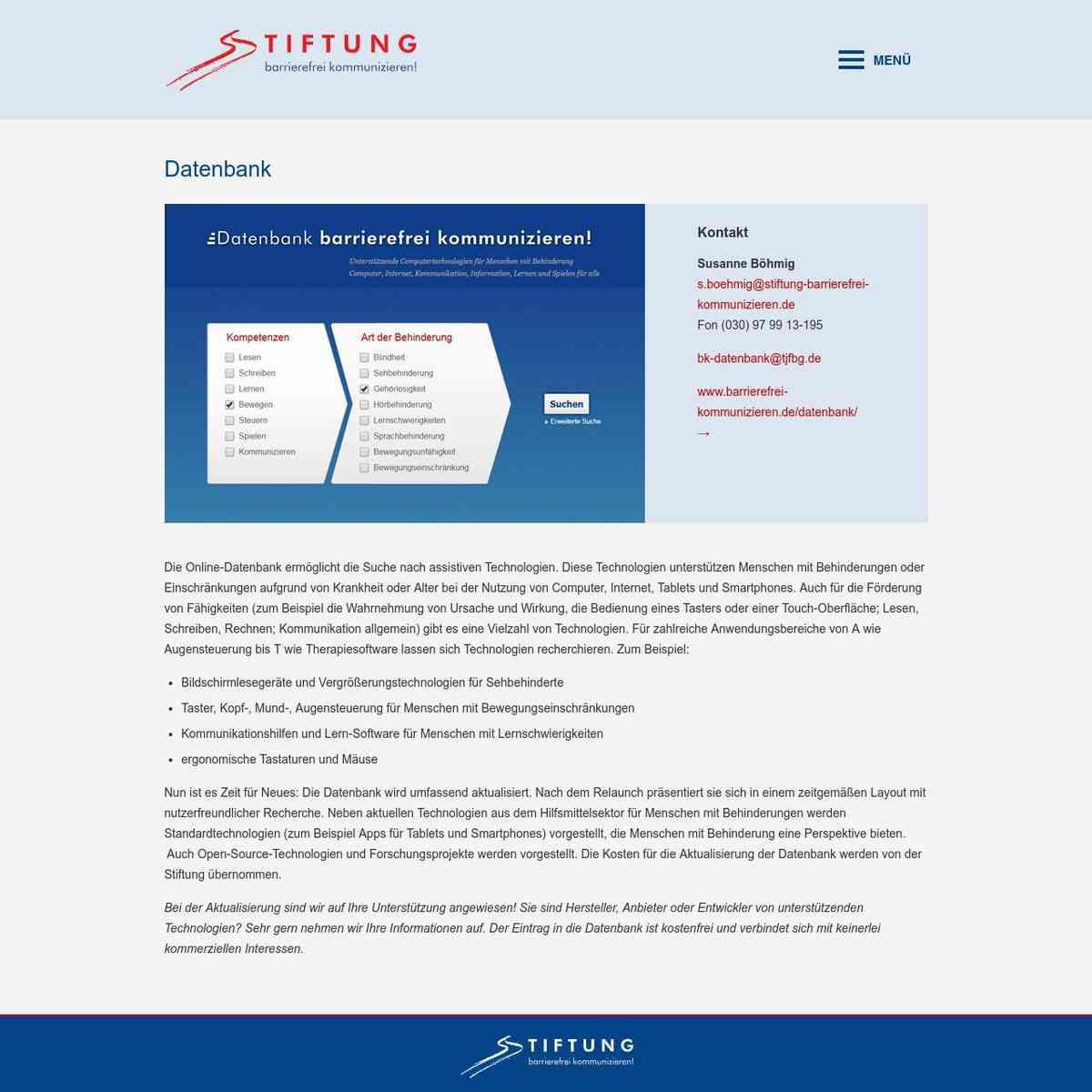 Datenbank | Unsere Arbeit Stiftung barrierefrei kommunizieren!