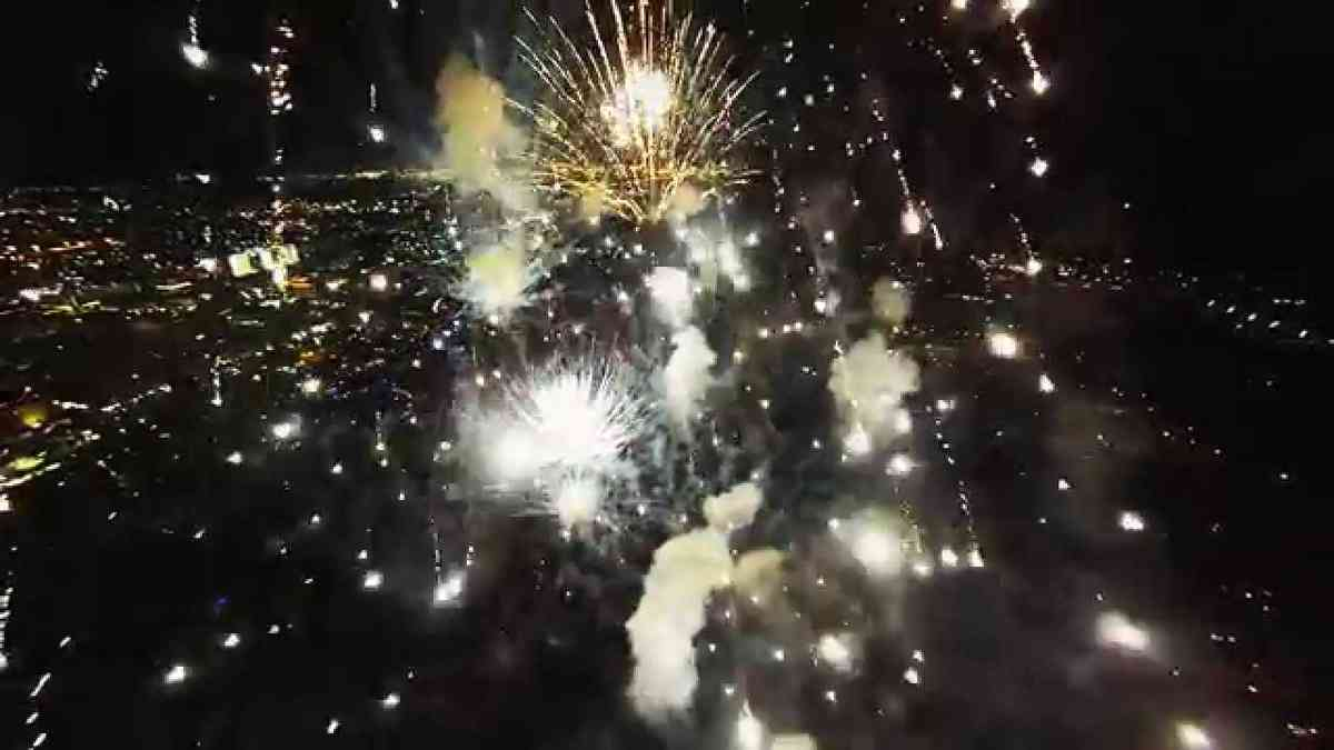 Fireworks filmed with a drone - YouTube