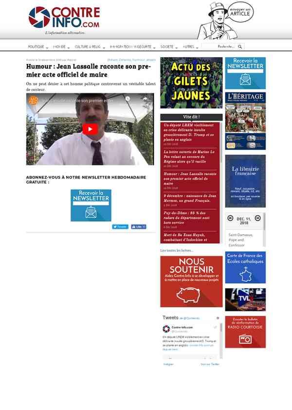 Humour : Jean Lassalle raconte son premier acte officiel de maire – Contre-Info