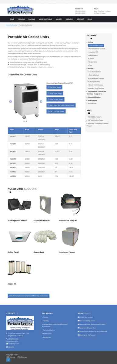 Portable Air Cooled Units | Rocky Mountain Portable Cooling | Denver CO
