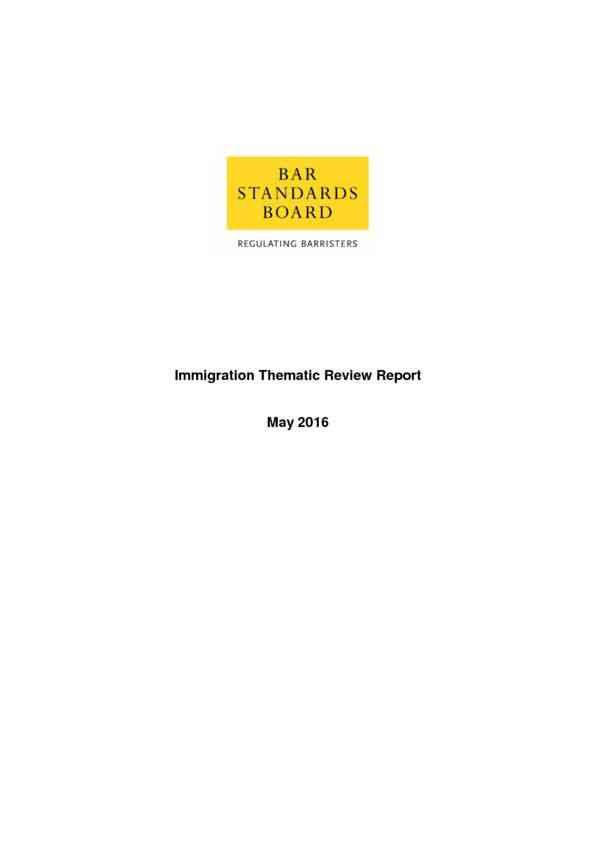 Immigration Thematic Review Report (Bar Standards Board)