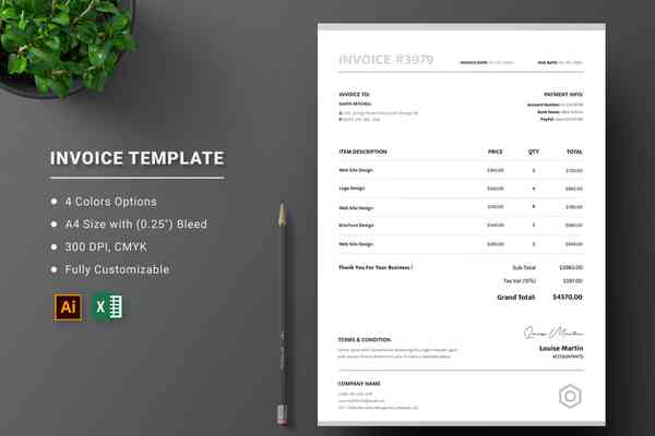 $ Invoice Excel Template