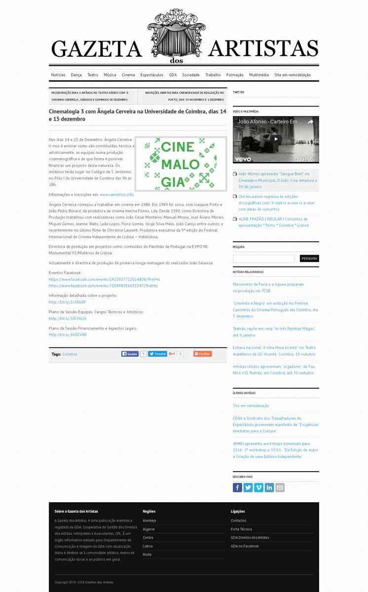 Cinemalogia 3 com Ângela Cerveira na Universidade de Coimbra, dias 14 e 15 dezembro | Gazeta dos A…