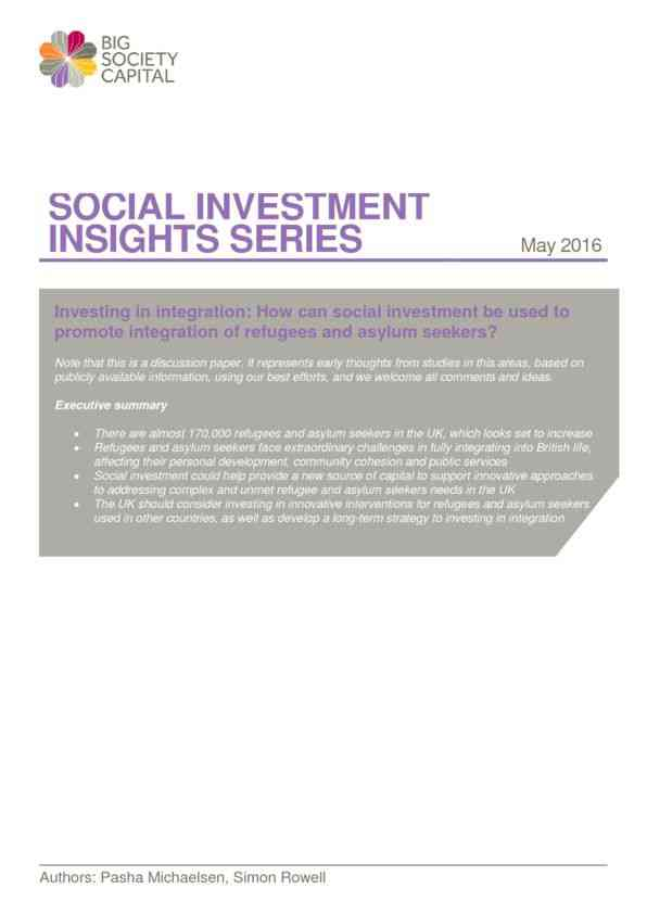 Investing in Integration: How can social investment be used to promote integration of refugees and …