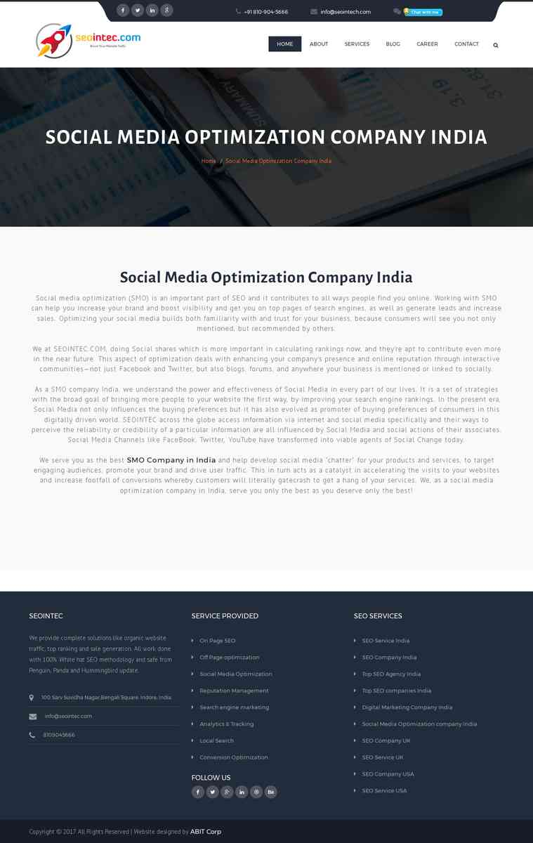 Best Social Media Optimization (SMO) Service Company in India