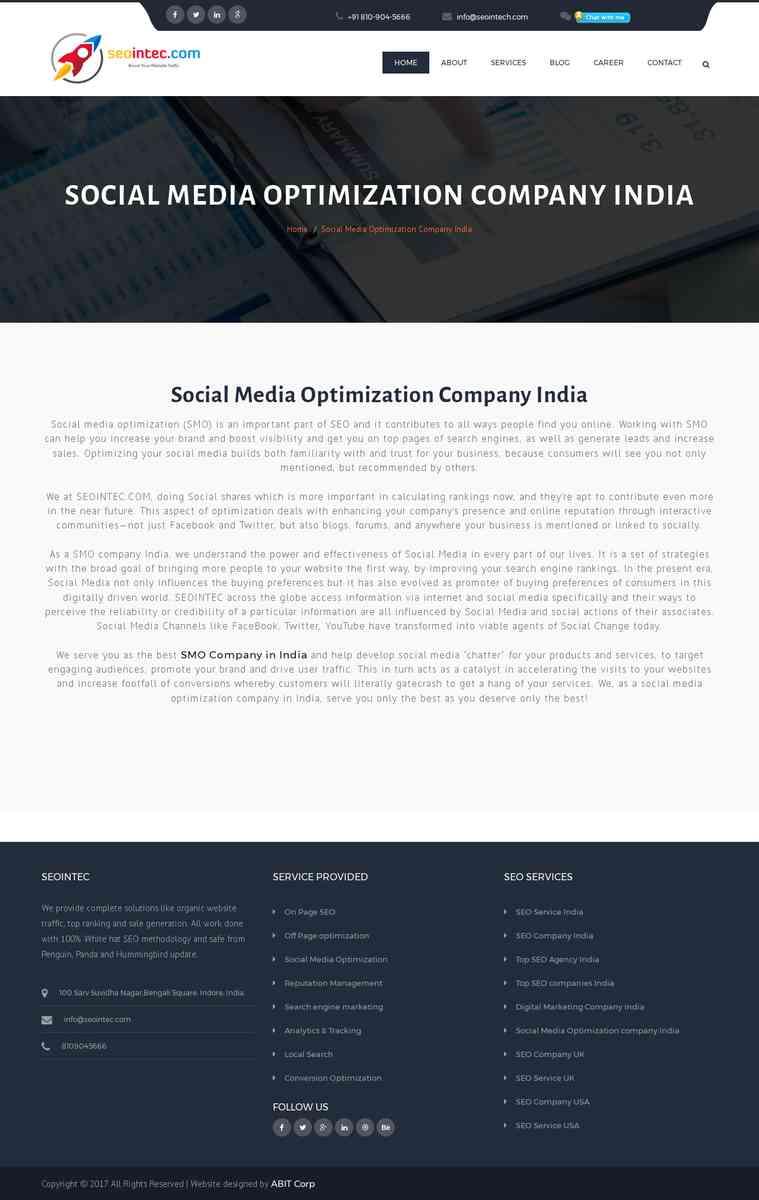 Best Social Media Optimization (SMO) Service Company in India