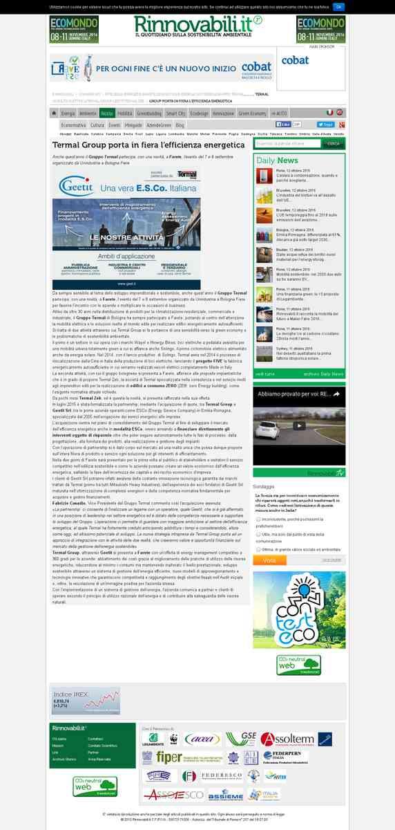Gruppo Termal porta a Farete 2015 l'innovazione dell'efficienza energetica